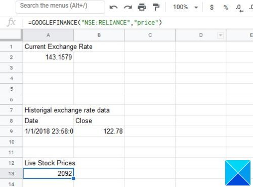 convert Currency and get Stock Data in Google Sheets