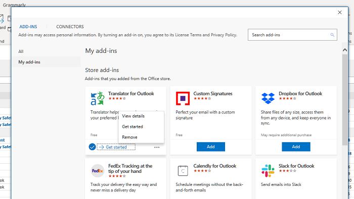 Microsoft Outlook Add-ins