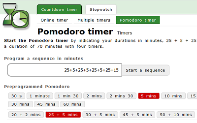 Online timers - Pomodoro timer