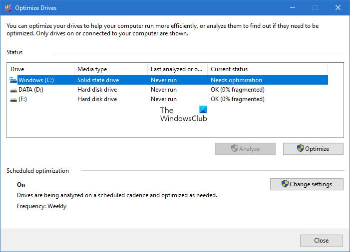 Optimize Drives Tool shows Never Run or Optimization not available