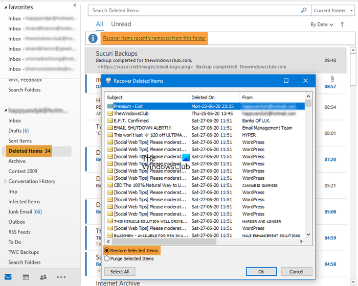 Recover items deleted from the Deleted Items folder of Outlook