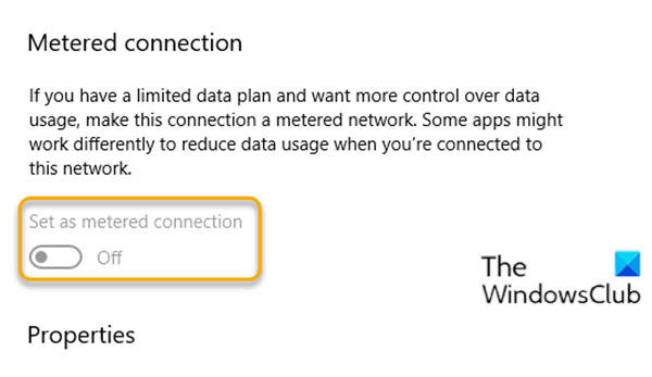 Set as metered connection setting greyed out