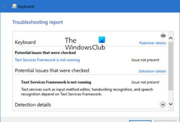 Keyboard Troubleshooter in Windows 10