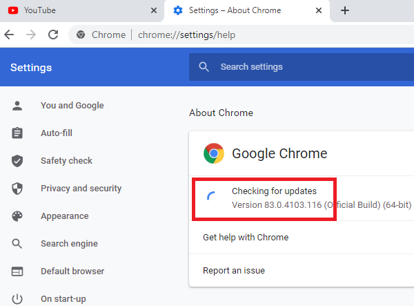 Search failed error on Chrome