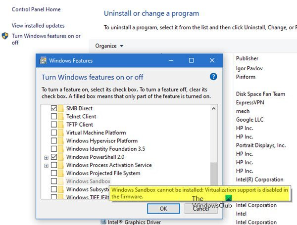 Windows Sandbox cannot be installed, Virtualization support is disabled in the firmware