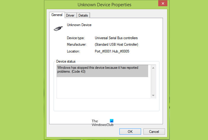 Windows has stopped this device because it has reported problems (Code 43)