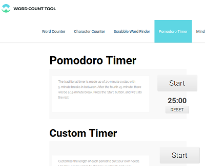 Wordcounttool Pomodoro Timer