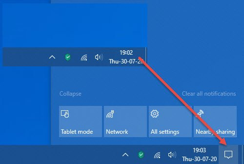 action center is missing in windows 10