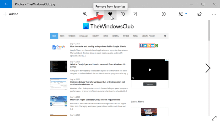 How To Add Favorites To Photos App In Windows 10