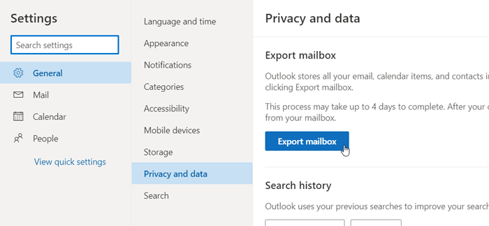 Download or export mailbox from Outlook.com