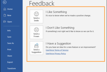 How to give feedback to Microsoft for Office programs