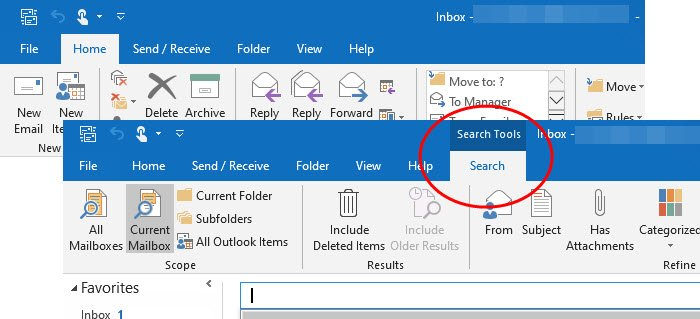 outlook search tab