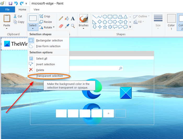 How to add a Transparent Image over Screenshot with Microsoft Paint