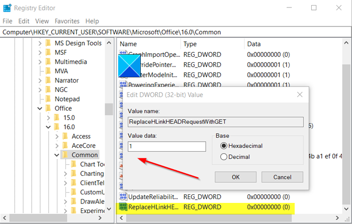 registry editor dword value changed