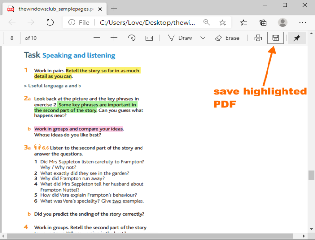 save highlighted pdf in microsoft edge