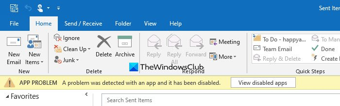 Outlook: A problem was detected with an app or add-in