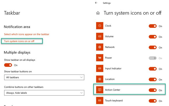 Action Center Enable System icons
