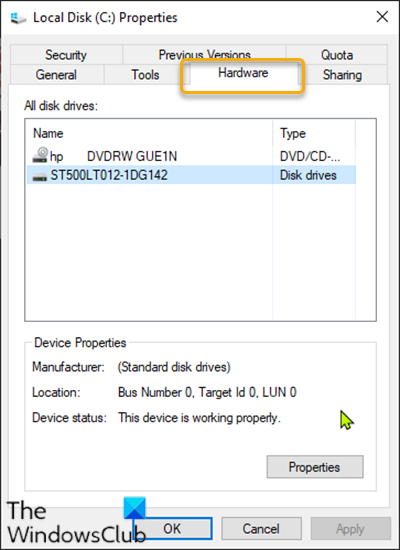 Add or remove Hardware tab in Drive Properties
