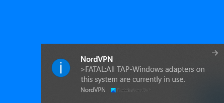 All TAP-Windows adapters on this system are currently in use