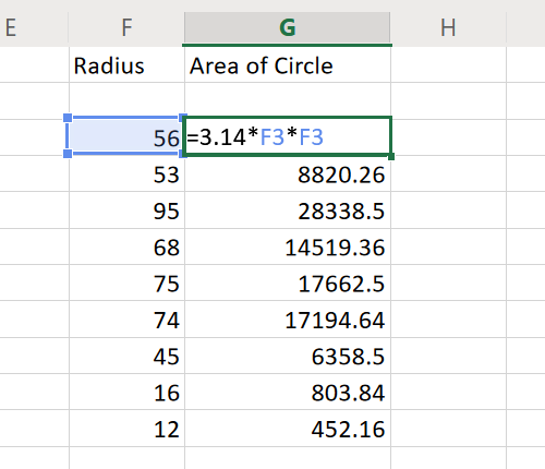 Area of Circle in Excel