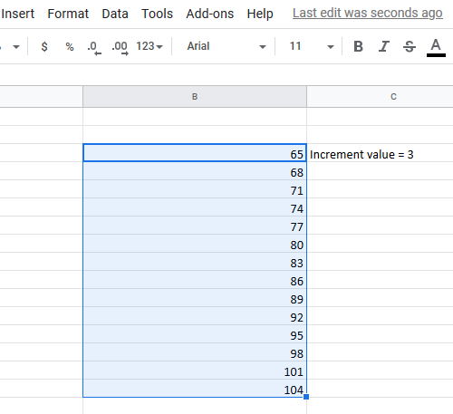 Automatically fill increment cells in Excel