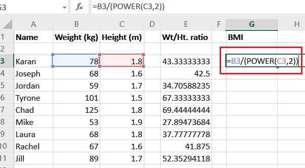 Calculate BMI ratio in Excel