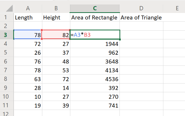 Calculate area of rectangle in Excel