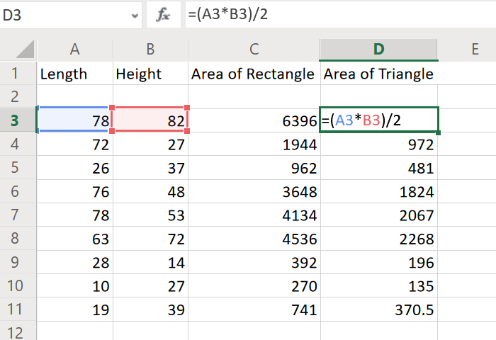 Calculate area of triangle in Excel