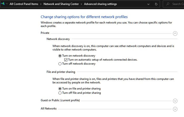 Change Network Discovery Settings Windows