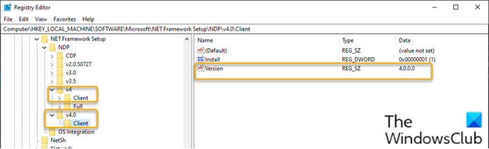 Check .NET Framework version installed on Windows 10-2