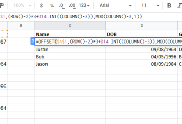 Convert data in one column to organized data in Excel