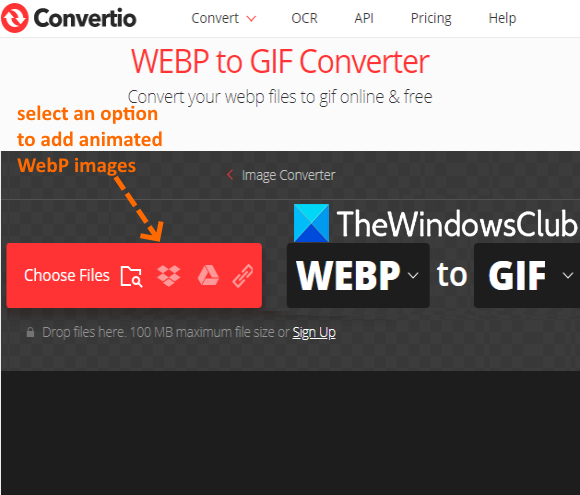 Convertio service with four options to add animated webp images