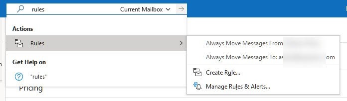 Create Rule Outlook Mail client