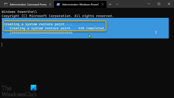 Create a Restore Point using Command Prompt & PowerShell-2