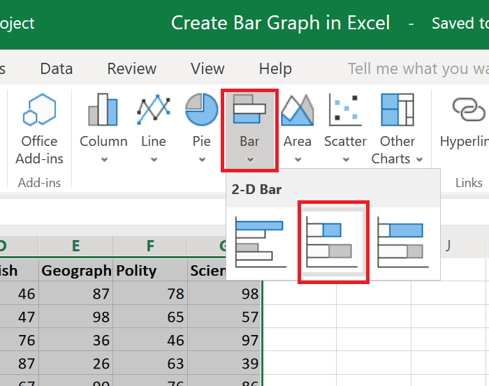Create a bar graph in Excel