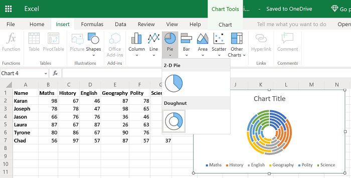 Create pie chart in Excel