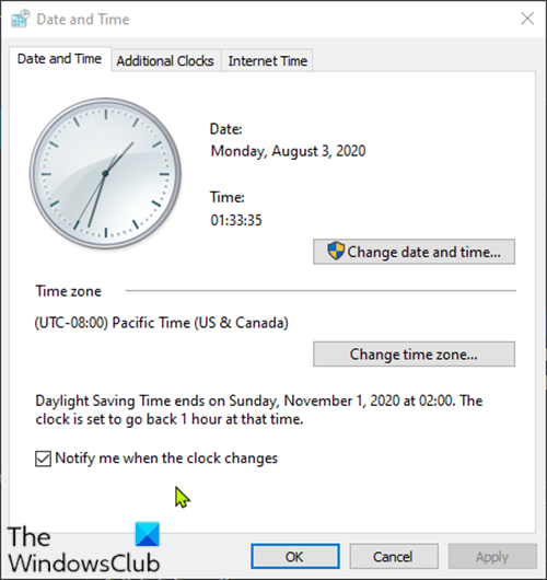 Daylight Savings Time (DST) does not update