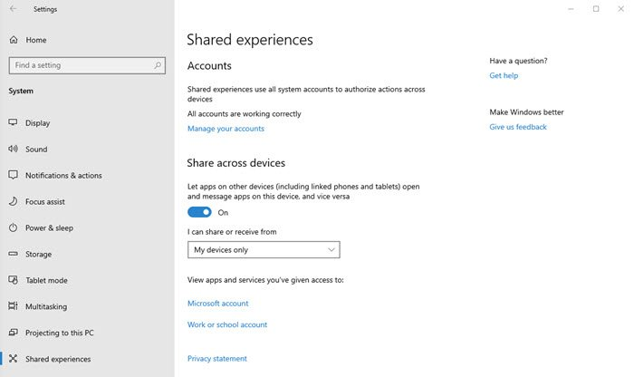 Enable Share Experiences Windows