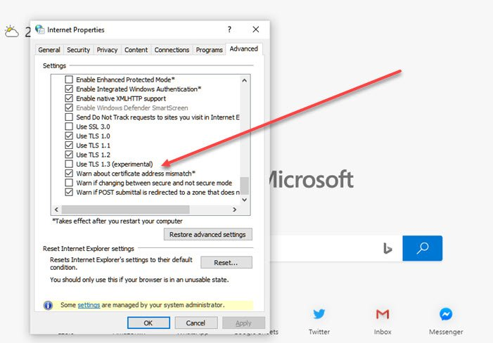 How to enable or disable TLS 1.3 in Windows 10