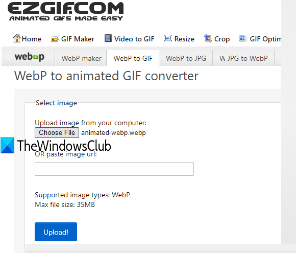 Ezgif service with WebP to animated GIF converter