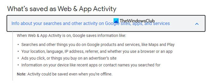 Google Activity Tracking Web application