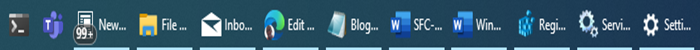 hide or show icon names beside icons in Taskbar