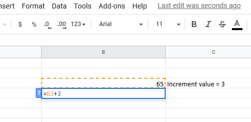How to automatically fill increment cells in Excel using formula