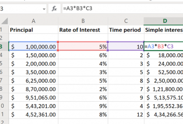 How to calculate Simple Interest in Excel