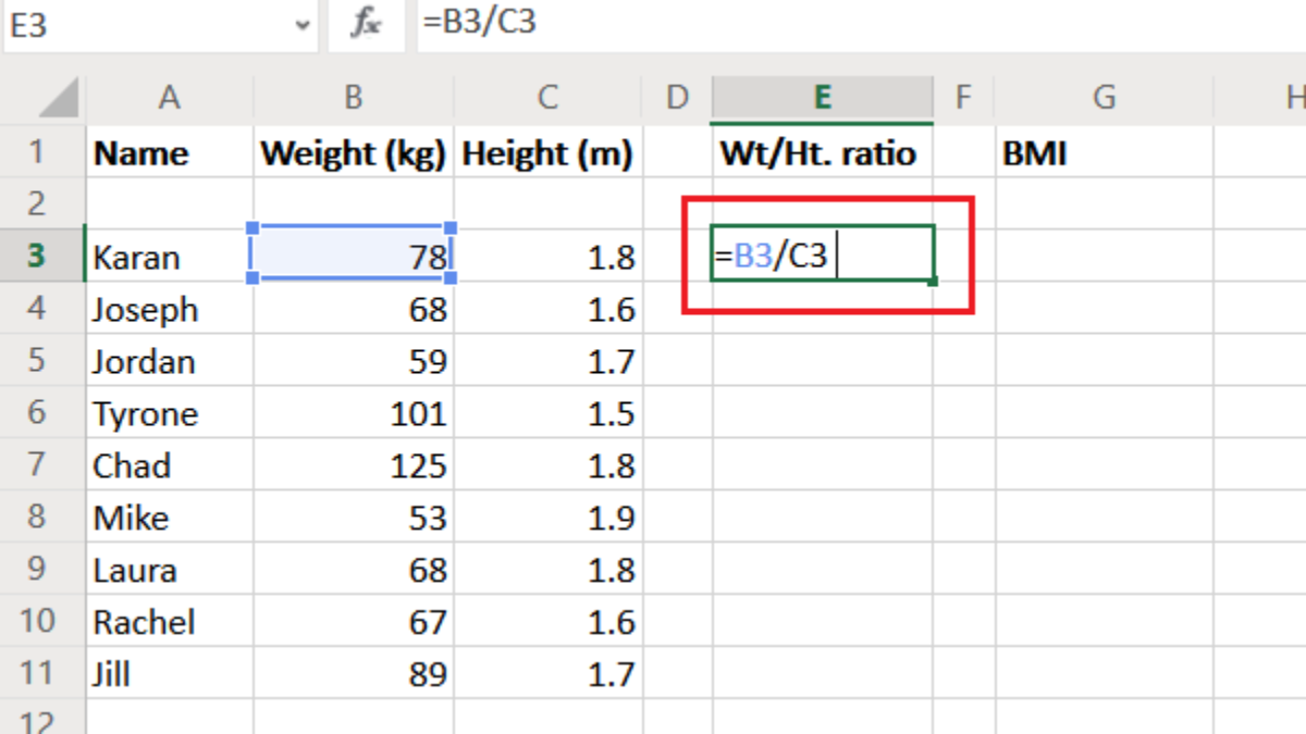 Calculate BMI in Excel using this BMI calculation formula