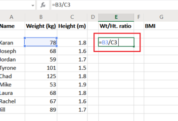 How to calculate weight to height ratio in Excel