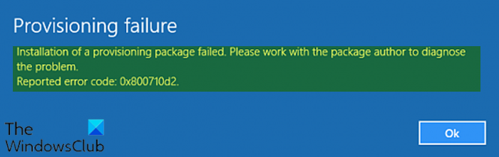 Installation of a provisioning package failed
