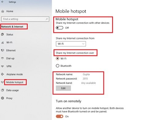 How to Disable or Enable Mobile Hotspot in Windows 10