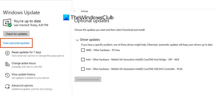 Optional Update Windows 10