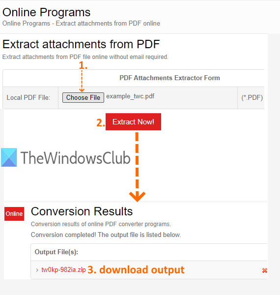 PDFConvertOnline with Extract attachments from pdf tool